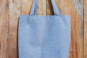 blue fabric bag