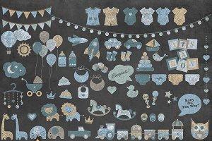 Chalkboard Baby Blue Clip Art