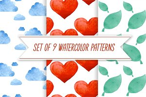 Watercolor patterns and elements
