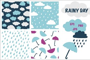 Rainy day seamless patterns