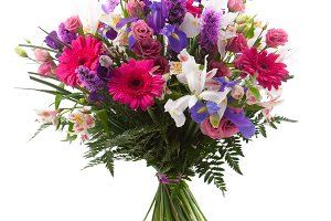 Pink and purple flowers bouquet