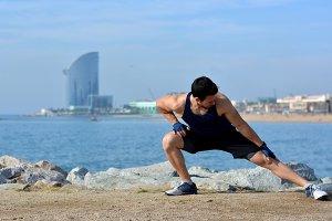Athlete practicing exercises