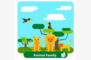 Cartoon lion family