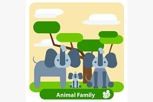 Family of elephants