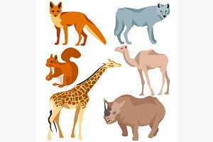 Set Isolated different animals