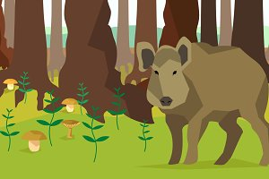 Boar in forest with trees