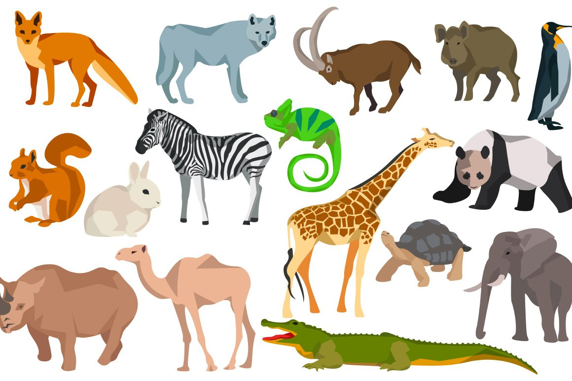 animals different graphic objects