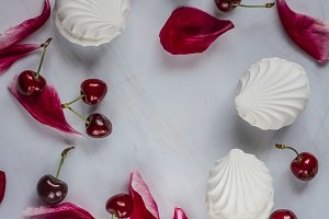 Marshmallows & cherries background