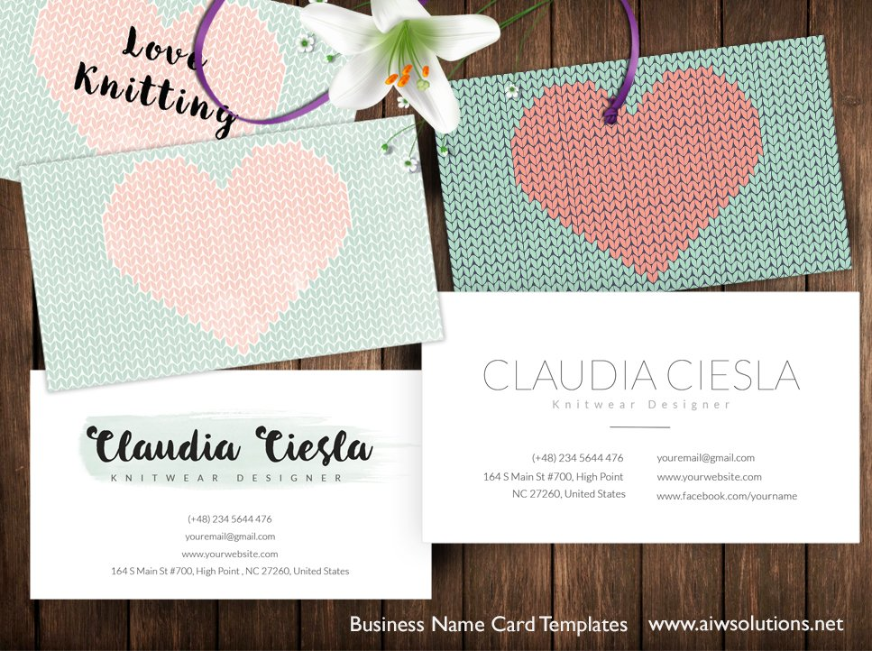 name card for knitwear designers business card templates on