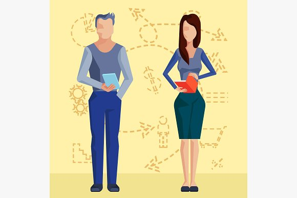 Two business people in Illustrations