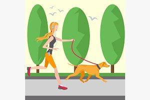 Running girl in headphones