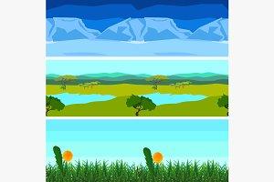 Set nature backgrounds horizontal