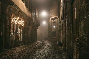 Old town mysterious street, Bergamo