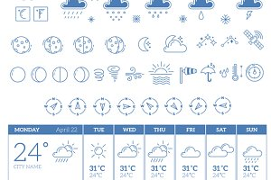 Big set of weather theme icons