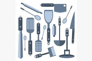 Set Isolated kitchen tools