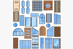 Set isolated doors, windows, glass