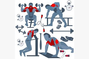 Sportsman pumping muscles fitness