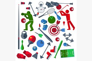 Set athletes, sports goods, balloons