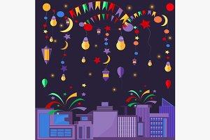 Night city festive elements balls