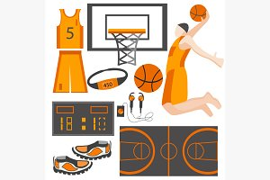 Set icons sports goods athlete