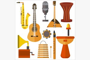 Set  musical instruments guitar