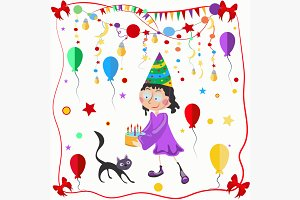 Girl and cat celebration balloons