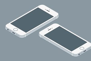 Iphone flat mockup vector