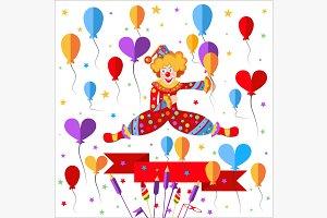 Clown, balloons, ribbon salute
