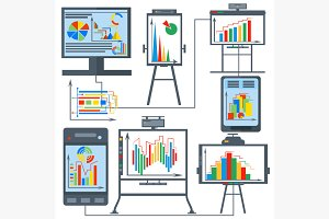 Set charts, gadget, computer, phone