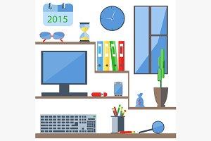 Set of office objects folder