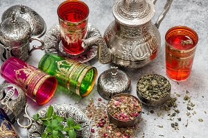 Tea with mint leaves. Herbal tea
