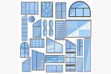 Set isolated window, glass, frame