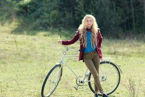 hipster girl with bike