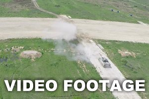 Flying over the shooting tank