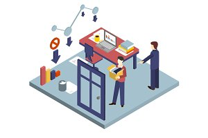 Dismissal of a Worker. Isometric 3d