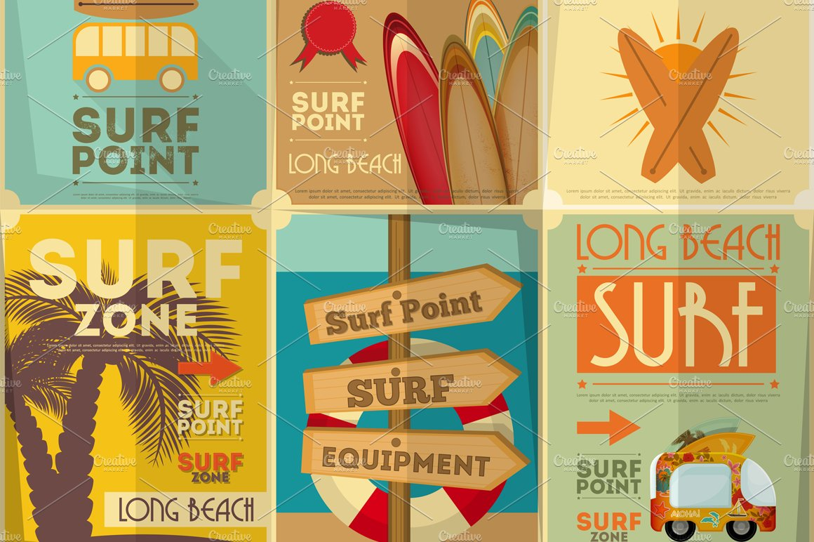 Surfing Posters Collection Illustrations Creative Market