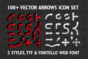 100+ Vector arrows set & web font