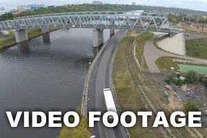 Flying over railway bridge
