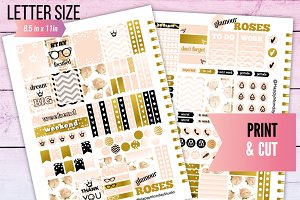 Glamour ROSES printable stickers