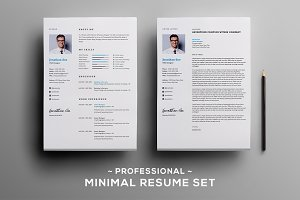 Professional Minimal resume set