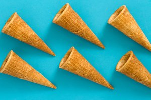 Empty ice cream cornets