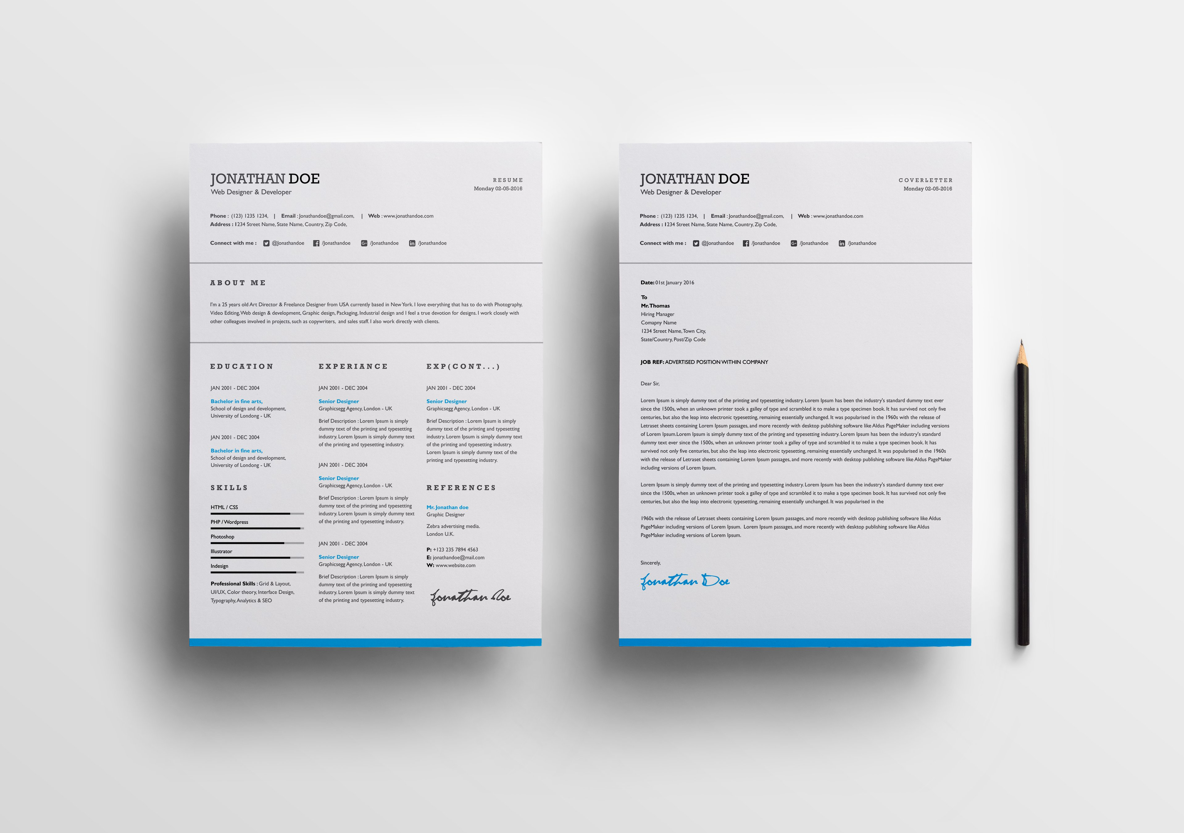 Word resume+cover letter ~ Cover Letter Templates ~ Creative