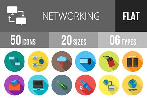 50 Networking Flat Shadowed Icons
