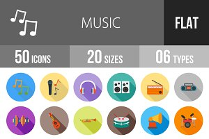 50 Music Flat Shadowed Icons