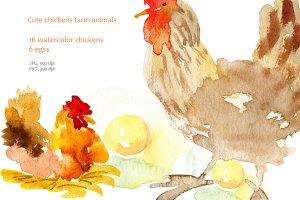 Watercolor Clipart Chicken.