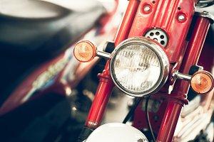 Headlight of retro motorcycle