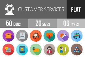 50 Customer Flat Shadowed Icons