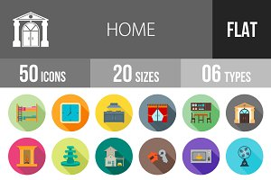 50 Home Flat Shadowed Icons