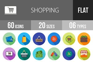 60 Shopping Flat Shadowed Icons