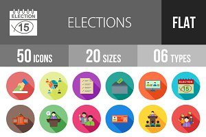 50 Elections Flat Shadowed Icons